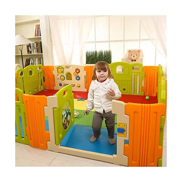 Baby Playpens Baby Playpen Kids Activity Centre Safety Play Yard Home Indoor Baby Playard Baby Fence For Toddlers Children's Play Centers Children's Play Centers Ryyland-Home Large area Of Play For Babies: All the door panels are combined to provide enough space for the baby. The baby can crawl or walk inside, which can help the baby learn to crawl or walk to a certain extent. You can also enter the fence to play or rest with your baby. Material: Our playpens are made of durable, non-toxic materials. Wide coverage of baby games: Provide plenty of space for your baby. The baby can crawl or walk inside, which can help the baby learn to crawl or walk to a certain extent. You can also enter the fence to play or rest with your baby. 4