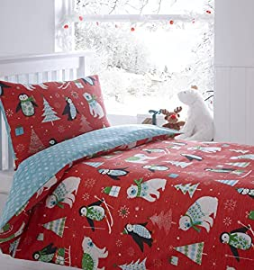 Frosty Friends Quilt Duvet Cover and Pillowcase Bedding Bed Set Christmas Trees Penguins, Red, Toddler