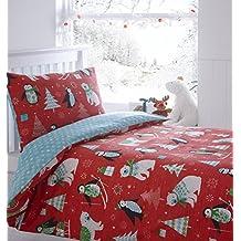 Edredón y funda de almohada juego de ropa de cama, de muñeco de nieve Árboles de Navidad pingüinos, color rojo, infantil