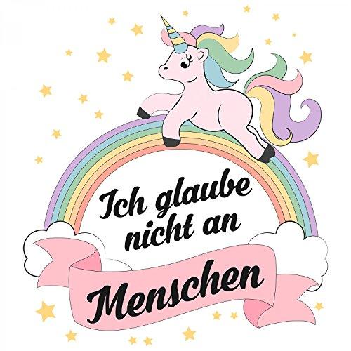 Fashionalarm Herren T-Shirt - Einhorn - Ich glaube nicht an Menschen | Fun Shirt mit Spruch als Geschenk Idee für Unicorn-Fans Weiß