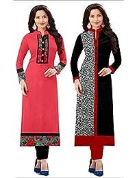 Kesari King Combo Cotton Kurti For Women Party Wear Cotton Semi-stiched Printed Pink & Black Color Straight Kurti...