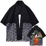 Lazzboy Uomo Unisex Lovers Character Stampa Top Camicetta Kimono Hot Spring Spa Cover-up Beach Shrug(M,Nero-Geisha 3)