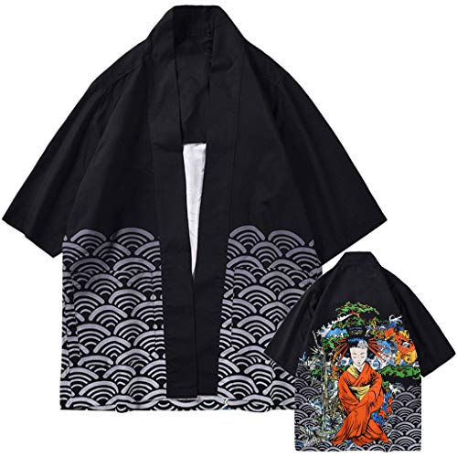 Lazzboy Uomo Unisex Lovers Character Stampa Top Camicetta Kimono Hot Spring Spa Cover-up Beach Shrug(S,Nero-Geisha 3)