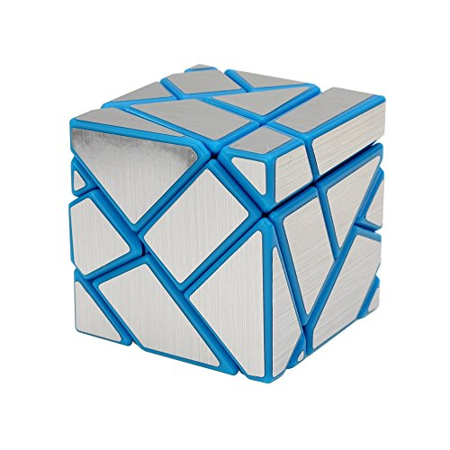 Wings of wind - Bricolage Nouvelle autocollant Speed Magic Cube, 3x3x3 Ghost Puzzle Cube (Bleu-argent)