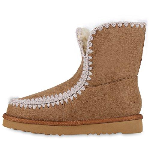 Warm Gefütterte Damen Stiefeletten Schlupfstiefel Boots Ethno Hellbraun