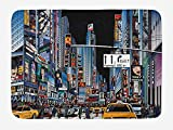ARTOPB City Bath Mat, Cartoon Style New York Night Scene Advertisements Crowded Streets Taxis Highway Exit, Plush Bathroom Decor Mat with Non Slip Backing, 23.6 W X 15.7 W inches, Multicolor