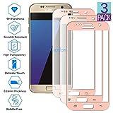 Wenlon [3 Pezzi Protezione per Schermo in Vetro temperato per Samsung Galaxy S7 (5.1' inch), Vetro Duro 9H, Protezione per Lo Schermo HD a Copertura Totale, Cover Integrale, AntiGraffio -Oro Rosa