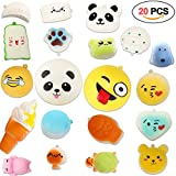 Squishy Toys 20 PCS, Acetek Party Bag Fillers Gifts Party Favors for Kids Cute Kawaii Soft Squish Toy Slow Rising Stress Relieve Squeeze Lovely Fidget Key Chain Strap Charms Pendent Decoration