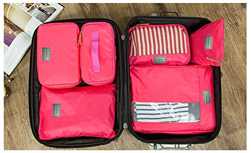 Joyoldelf 7 Stück Kleidertaschen Kofferorganizer Packtaschen mit Wäschebeutel,Handgepäck und Seesäcke- Rosa