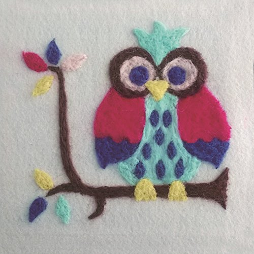 handidi-diy-needle-felting-starter-kitwool-felt-kit-diy-gift-colorful-owl-on-brach-ft-038-size-6-in-