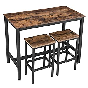 VASAGLE Bartisch-Set, Stehtisch mit 2 Barhockern, Küchentresen mit Barstühlen, Küchentisch und Küchenstühle im Industrie…