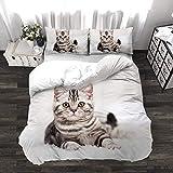 BEDSETAAA 3D Katze Einhorn Bettwäsche Vierteilige Western Style Haushalts Leinen Kissenbezug Quilt Textil Baumwolle 155x215cm 8