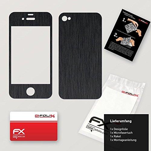 """Skin Apple iPhone 4 / 4s """"FX-Brushed-Black"""" Designfolie Sticker FX-Brushed-Black"""