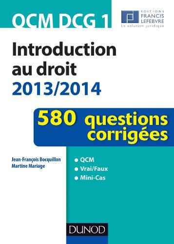 QCM DCG 1 - Introduction au droit 2013/2014 - 580 questions corrigées
