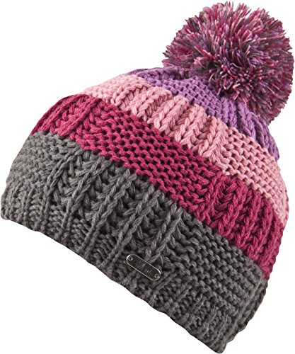 Chillouts Kinder Mütze Elisa Kid Hat Pudelmütze Strickmütze grey/pink