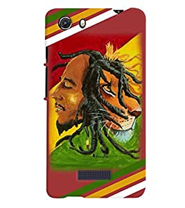 printtech Bob Marley Lion Back Case Cover for Micromax Q372 Unite 3