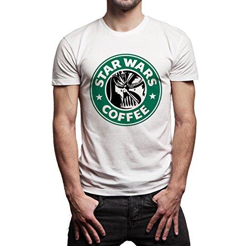 Starbucks Mask Star Wars Coffee Logo Background Herren T-Shirt Weiß