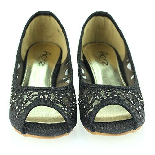 Femmes Dames Soir Mariage Fête Peep Toe Diamante Talon bas Des sandales Chaussures Taille Noir