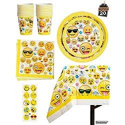 81 Piezas Vajilla para Cumpleaños – Diseño de Emoji – 20 Platos Vasos, Servilletas y Mantel Resistente – Accesorios de Fiesta para Celebración – Articulo de Menaje para Eventos - BONUS Pegatinas de Emoticono