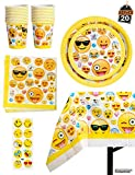 Kompanion 81-Teiliges Party-Set Emoji Kindergeburtstag Partydekoration - Pappteller, Tassen, Servietten, Tischdecke und Bonus Emoji Aufkleber, Geburtstagsfeier Zubehör für 20 Kinder
