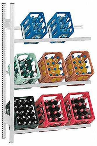 Hofe PROFI Getränkekistenregal -Anbauregal- für 9 Kisten, 176x101x34 cm | Getränkekistenhalter aus metall | Getränkekistenständer | Kistenständer für Getränke | Kistenhalter | Kistenregal | Getränkeregal