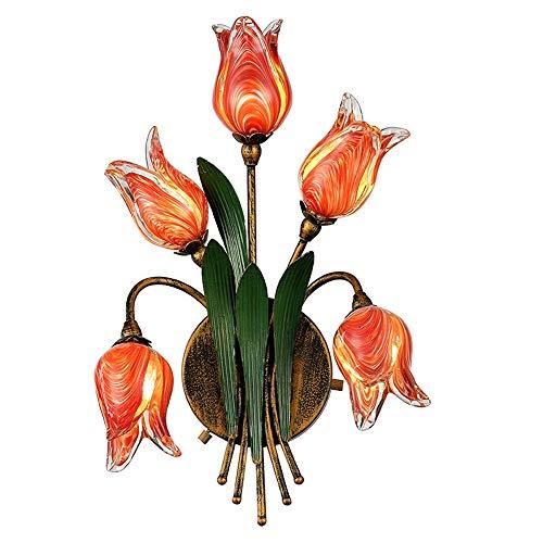 Européen Américain style Appliques À La Main Tulipe Décoration Appliques Murales Restaurant Fleuriste Hôtel café Filles Éclairage de Chambre,B