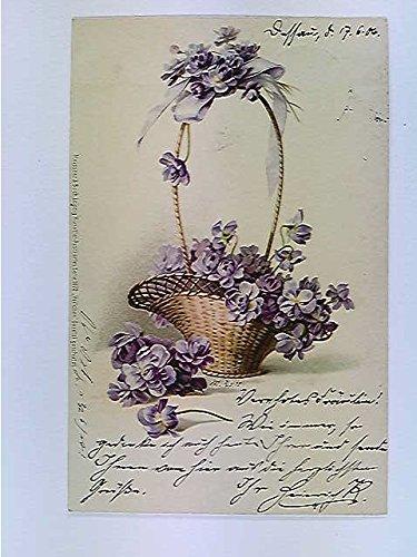 AK Biedermeierkorb mit Blumen, Veilchen, Lithografie, gelaufen 1904
