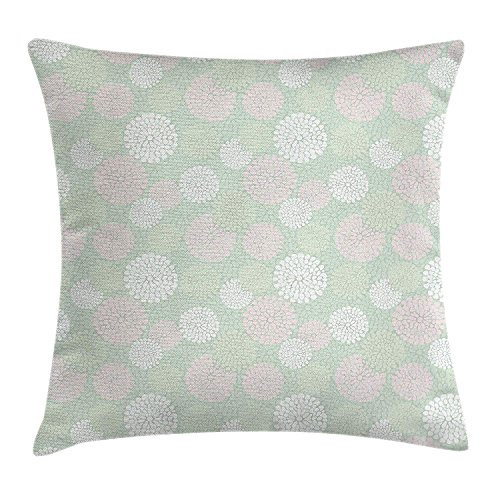 ZTLKFL Mint Throw Pillow Cushion Cover, Dahlia Flowers in Pastel Tones Spring Blooms Theme Floral Pattern, Decorative Square Accent Pillow Case, 18 X 18 Inches, Almond Green White Light Pink Light Pink Double Sided Satin