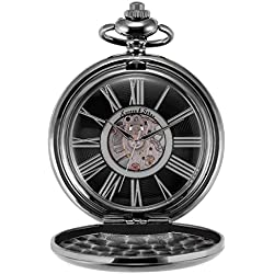 KS Steampunk Mechanical Black Smooth Case Roman Numbers Pocket Watch with Chain KSP035