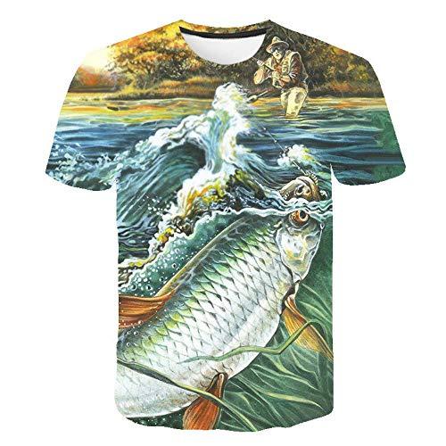 XIAOBAOZITXU T-Shirt Unisex-Paar-Kostüm 3D-Digitaldruck Angeln des Alten Mannes Cooles Lustiges Lose Sportmode Großes T-Shirt L