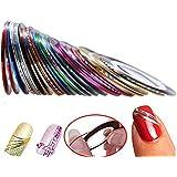 Hosaire 30pcs 30 Multicolor Mixed Colors Rollos Striping Línea de cinta Nail Art Decoración Sticker DIY uñas color aleatorio