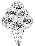 Unique Party Supplies Folie silber glitzernden Konfetti zum Geburtstag Luftballons, 6Stück