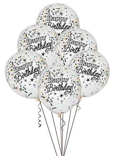 Unique Party Paquete de 6 Globos Confetti de cumpleaños, Color Plata, Oro y Negro, 30 cm (58285)