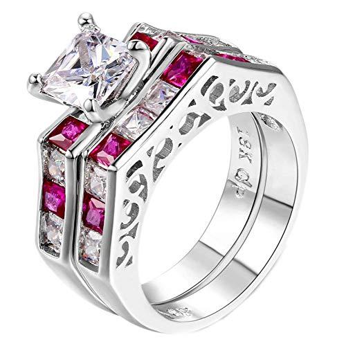 Purmy Damen Ring Weißes Gold überzogen Rot Cubic Zirconia Prinzessin Schnitt Zirconia Set Ringe Kreativ Design Größe 62 (19.7) (Weiß Gold Prinzessin Schnitt Ring Set)