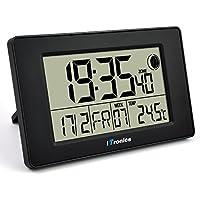 iTronics Reloj de Radio Digital de Pared con Indicador de Temperatura Reloj despertador Temporizador de cuenta atrás, Negro