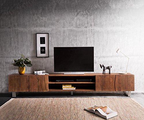 DELIFE Fernsehtisch Live-Edge Akazie Braun 300 cm 4 Türen 2 Fächer Baumkante Lowboard