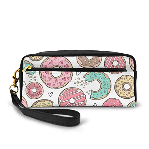 Donuts With Hearts Mint Green, Pink And Chocolate On White_561 Canvas Makeup Bag Pouch Purse Handbag Organizer with Zipper