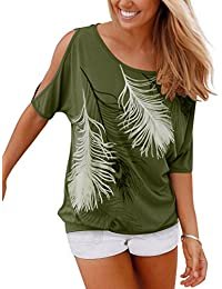 8c376abe87c9 Issza Damen Sommer T-Shirt Kurzarm Feder Schulterfrei Bluse Casual Tops  Lose T-Shirt