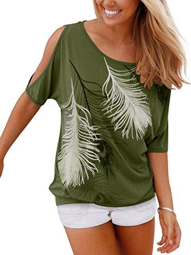 Issza Damen Sommer T-Shirt Kurzarm Feder Schulterfrei Bluse Casual Tops Lose T-Shirt , Armeegrün, Size XXl