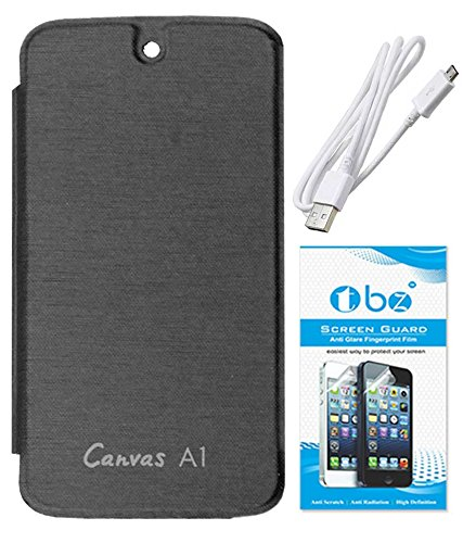 TBZ Premium Flip Cover Case -Black for Micromax Canvas A1 Android One with Screen Guard and Data Cable