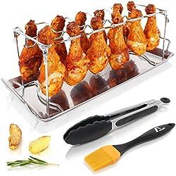 Amazy Hähnchenschenkel Halter inkl. Auffangschale + BBQ-Pinsel + Bratzange – Hochwertiger Geflügelhalter aus Edelstahl für gleichmäßig gegarte Hähnchenkeulen aus dem Backofen oder vom Grill