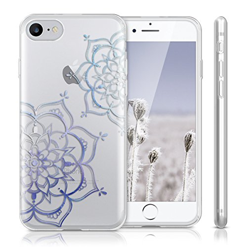 kwmobile Hülle für Apple iPhone 7 / 8 - TPU Silikon Backcover Case Handy Schutzhülle - Cover klar Ananas Strauch Design Rosegold Transparent Blumen Zwillinge IMD Blau Transparent