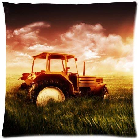BHWYK Old Farm Tractor Antique Design Microfiber Pillowcase Cover - Standard Size 18x18 inch (Two Side) Antique Rose Farm