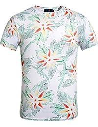 SSLR Camiseta Hawaiana Hombre Manga Corta Aloha Tropical Flores