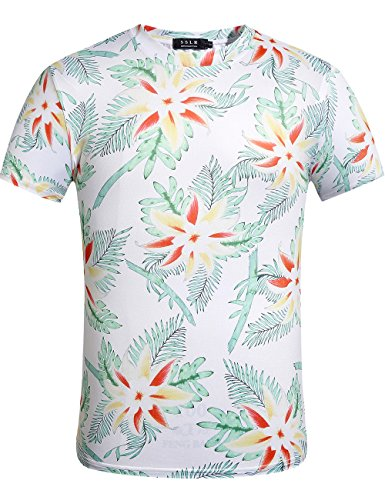 SSLR Herren Druck Rundhals Kurzarm Casual Aloha Hawaii T-Shirt (Large, Weiß) (Hawaii-shirt Halloween)