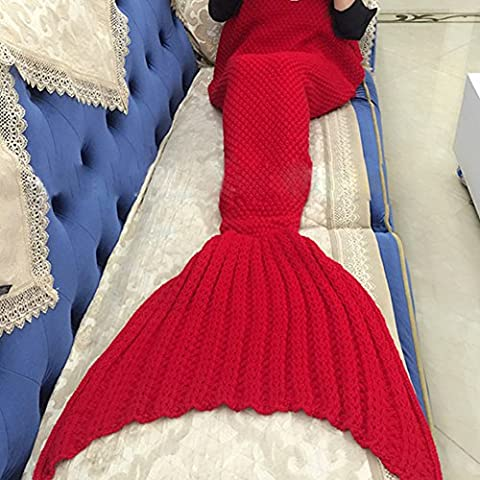 Filato Maglia Sirena coda coperta letto coperta copriletto handmade uncinetto sirena, per adulti e bambini, Super morbido Sacco a pelo, Red, Adult knitting 195*90cm
