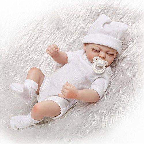 Weiche Mode Puppen Spielzeug Pflege besondere Mädchen voller Silikon Vinyl 11'' Reborn Baby sieht aus wie schlafen Babys Doll, weiße Kleidung Puppe Portable Angst zu verringern helfen, Autismus schwangere Frauen