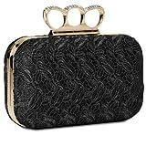 CASPAR Damen Schlagring Box Clutch / Abendtasche mit Stoff Häkel Spitze Dekor und Strass Steinen - viele Farben, Farbe:schwarz