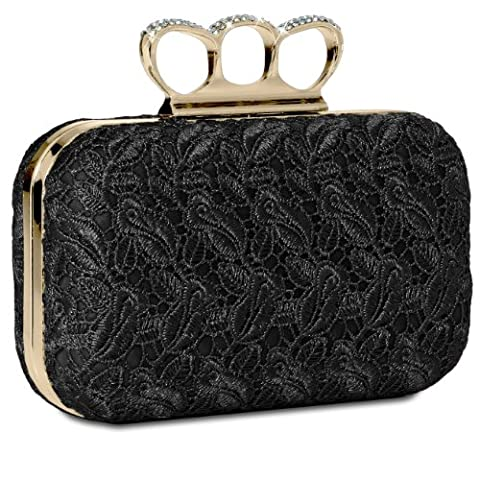 CASPAR Womens Knuckle Duster Box Clutch / Evening Bag with Crochet Lace and Rhinestones - many colours - TA290,
