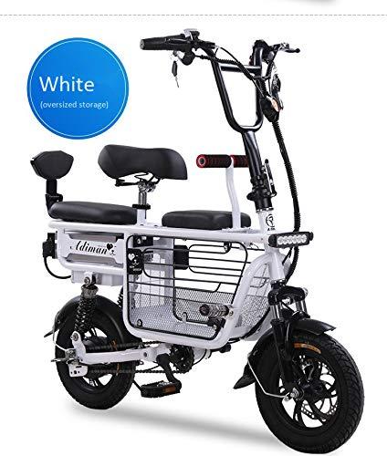 Bicicleta eléctrica Mini Plegable Dos Baterías de litio redondas Scooter de viaje Batería de adultos Scooter Batería de litio Tres...